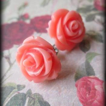 Coral rose post earrings.Rose posts.Rose jewelry.Coral.